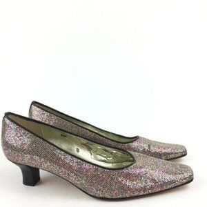 Vaneli Heels 6 Sequins Shiny Party Holiday Retro